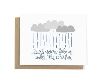 Heard You're Feeling Under the Weather Get Well Card  Simple Minimal Icon Modern Lettering Graphic Cute Pun