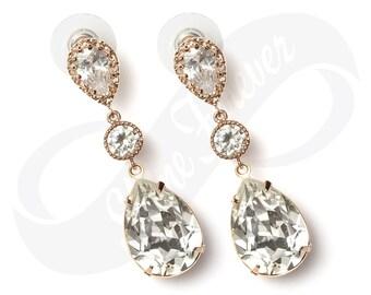 Rose Gold Bridesmaid Rose Gold Jewelry Bridal Swarovski Dangle Earrings Bridesmaid Gift Teardrop Rose Gold Earrings Bridal Jewelry
