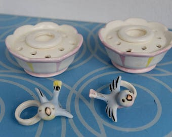 Pair - Vintage Holt Howard 1959 Bluebird candle climbers/huggers w/bases- wedding gift