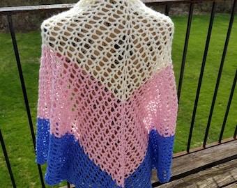Hand Crochet Shawl, Crochet Shawl, Medium Weight Wrap, Medium Weight Shawl, OOAK Gift, OOAK Shawl, Triangle Scarf - Neopolitan V