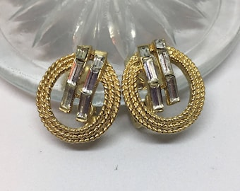 Trifari Gold Tone with Baguette Rhinestones Clip on Earrings