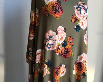 Blythe. Watercolor Floral On Olive Green With Hints Of Dusty Rose, Burgundy, Mustard And Teal. Double Brushed Poly Knit Fabric