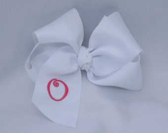 Southern Size Monogrammed White Hair Bow