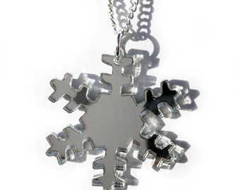Mirrored Silver Snowflake Necklace