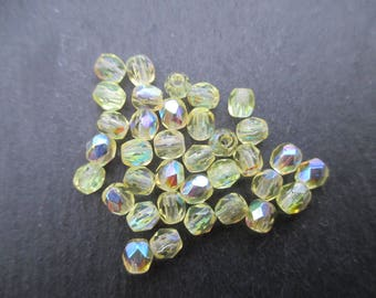 Faceted 4 mm: 30 beads jonquil yellow Bohemian