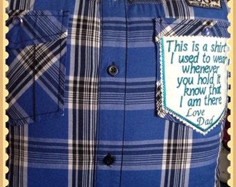A beautiful keepsake made from one shirt, a stunning keepsake you can treasure forever .