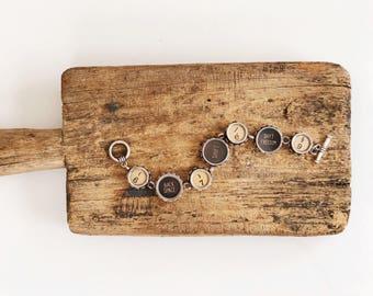machine à écrire Vintage bracelet authentique sept grandes et petites touches