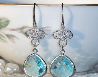 Large Silver Aqua Blue Rhinestone Drop Earring,Crystal Clear Crystal Drop,Bridal Wedding Earring,Statement,Turquoise Blue,Chandelier,Hook