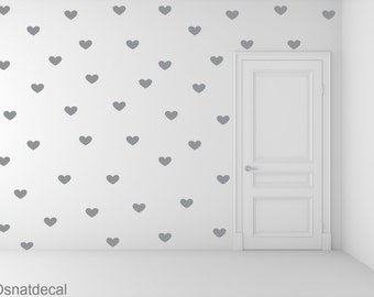FREE SHIPPING Wall Decal 159 Gray Hearts. Nursery Wall Decal.Wall Art. Wall Paper.Vinyl Wall Decal. Diy Wall Decal.
