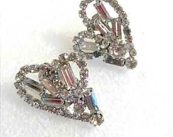 Silver Clear Baguette Heart Shape Cluster Earrings, Vintage Earrings, Boutique, Accessories, Fashion Jewelry