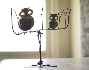 Vintage Brutalist Owl Sculpture Mid Century Modern Figure Owls on Barbed Wire Tree Branches