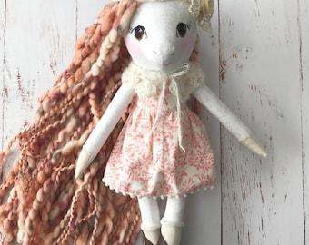 Unicorn doll: handmade heirloom doll in peach