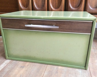 Vintage Green Metal Bread Box/Danish Modern Bread Box/ RETRO Green Metal Bread Box Chrome Handle with Wood Veneer