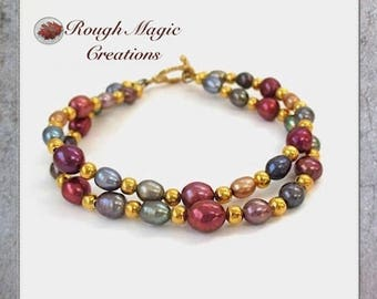 Pearl Bracelet, Gold Bead Bracelet, Rainbow Pearl Jewelry, Two Strand Bracelet, Genuine Pearls, Real Freshwater Pearls, Toggle Clasp B241