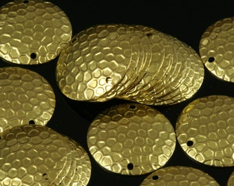 40 Pcs Raw Brass 20 mm textured Circle  cambered Charms ,Findings 695R-44