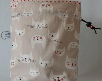 Small drawstring project bag cat faces