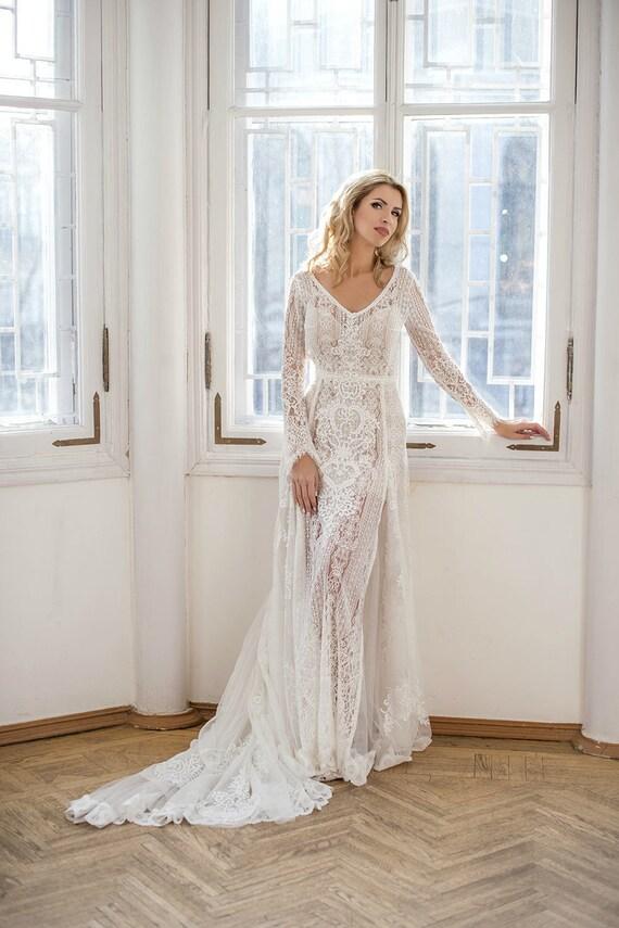 Erstaunlich lange Ärmel Böhmische Brautkleid Boho Brautkleid
