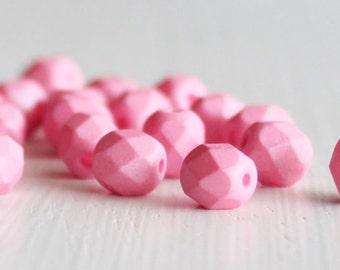 25 Matte Bubble Gum Pink 6mm Faceted Czech Glass Fire Polished