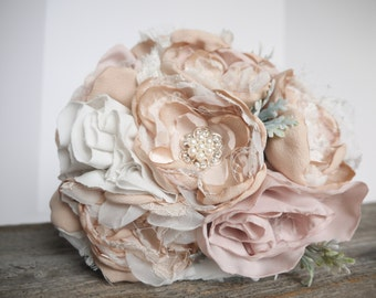 Shabby Chic Fabric Bouquet | Peony, Dusty Miller, Brooch, Blush Ivory | Brooch Bouquet |Fabric Flower Bouquet | Bridal Bouquet