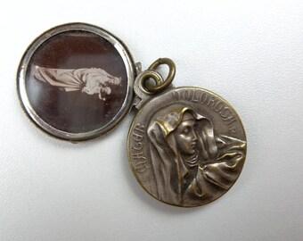 Antique Religious Medal Locket. Mater Dolorosa.Religious Medal.