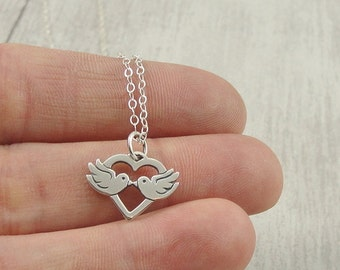 Love Birds Necklace, Sterling Silver Kissing Birds Charm on a Silver Cable Chain