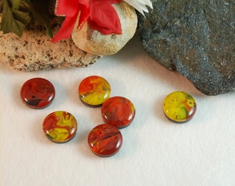 Fused glass magnets in yellow, red and orange