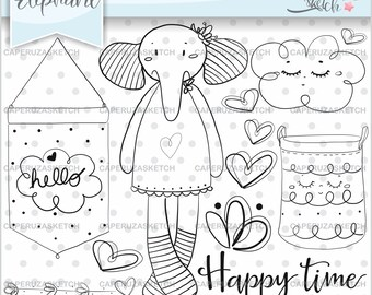 Elephant Stamps, Baby Elephant Stamps, Baby Shower Stamps, COMMERCIAL USE, Digital Stamp, Digistamp, Coloring Page, Happy Time, Animal Stamp