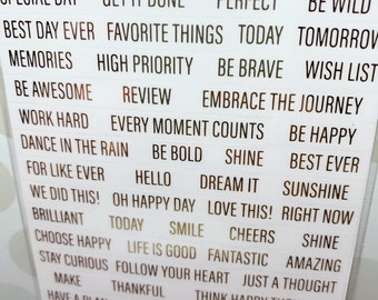 Gold Foiled Words Stickers by Recollections - 178pc/pack - Gold Foiled/Day Plan/Daily Reminder