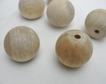 "Wooden ball knob 1.5"" (1 1/2"") solid wood set of 6"
