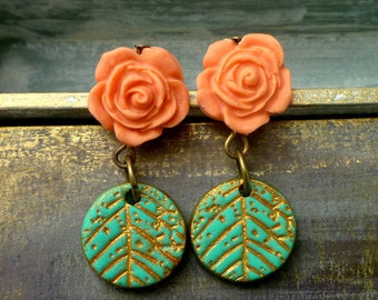 Rose and Leaf Textured Earrings