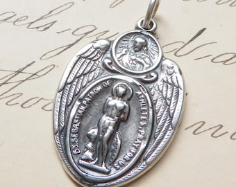 St Sebastian Scapular Medal -Patron of athletes & soldiers-Antique Reproduction