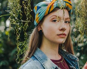 Silk bandana, Silk turban, Foulard, Silk scarf, Green scarf, Summer scarf, Turban, Colourful scarf,  Headband