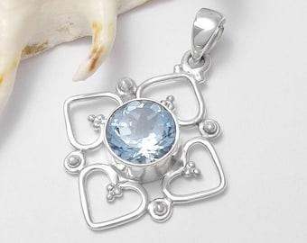 Fine 925 Sterling Silver Blue Topaz Gemstone Pendant