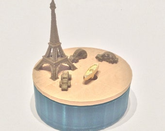 """Paris  Music Box 3D Printed , """"You Are My Sunshine"""",  Musical Box, Music Boxes, Personalized Music Box, WIND UP, Eiffe, Green, Wood, Metalic"""