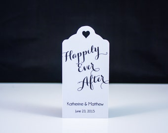 Happily Ever After Wedding Favor Thank You Tags (50) - Personalized Thank You Tags, Your Letters.Perfect for Wedding or Party Favors