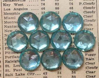 Vintage Round Glass Stones -  Aqua Blue Rhinestones - Foil Back, Faceted, Flat, Cabs - 13 mm - Qty 10