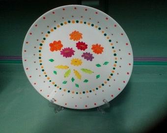 Flowers Hand painted 25cm display plate