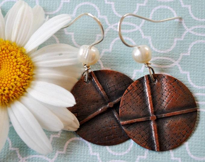 Copper and pearl earrings, hammered metal earrings, rustic earrings, artisan earrings