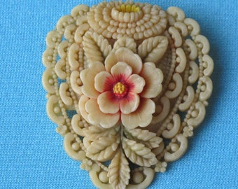 Brooch Pin Molded Cream Celluloid Intricate Lacy Detail Pink Flower Green Leaves Pastel Tinted Signed Japan Vintage 1930's