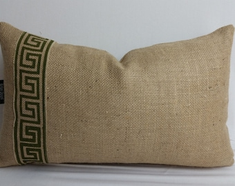 Burlap decorative pillow with Greek key trim, 20 x 12 inches,
