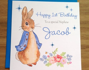 Handmade Personalised Blue Peter Rabbit Birthday Card 1st 2nd 3rd 4th