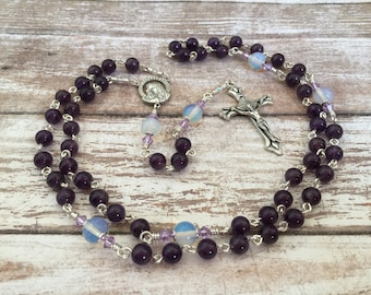 Amethyst and Opalite gemstone Traditional Five Decade Catholic Rosary