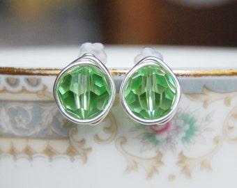 Peridot Studs , August Birthstone Earrings , Swarovski Green Studs