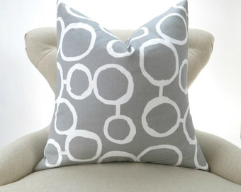 Gray Circles Pillow Cover -MANY SIZES- Freehand Storm Premier Prints - cushion throw couch euro sham decorative dots modern organic mod