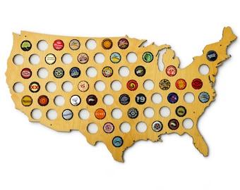 Beer Cap Map USA - US Beer Bottle Cap Map Craft Beer Map Cap Map Bottle Cap Craft Beer Gift