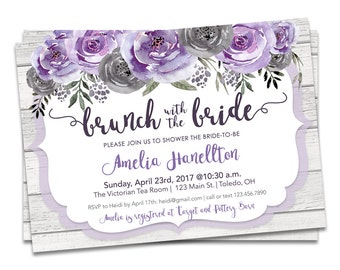 Bridal Brunch Invitation, Brunch Bridal Shower Invitation Purple, Purple Floral Bridal Shower, Printable Bridal Brunch Shower Invitation