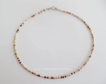 Multicolor Metallic Seed Bead Choker, Beaded Choker Necklace, Seed Bead Necklace Choker, Tiny Metallic Bead Choker, Popular Bead Choker