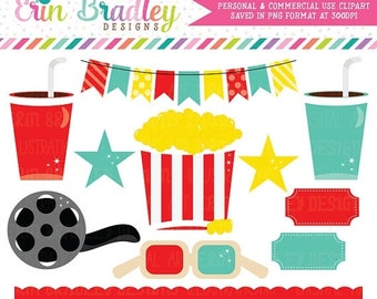 80% OFF SALE Movie Theater Clipart Graphics Digital Popcorn Food Beverage Drinks Stars Bunting and Border Clip Art Instant Download