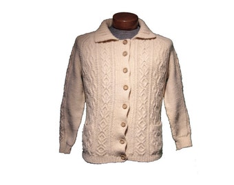Vintage Off White Cable Knit Fisherman Cardigan Sweater Size Small