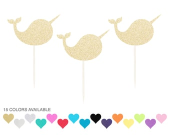 Narwhal Cupcake Toppers - Any Color Glitter